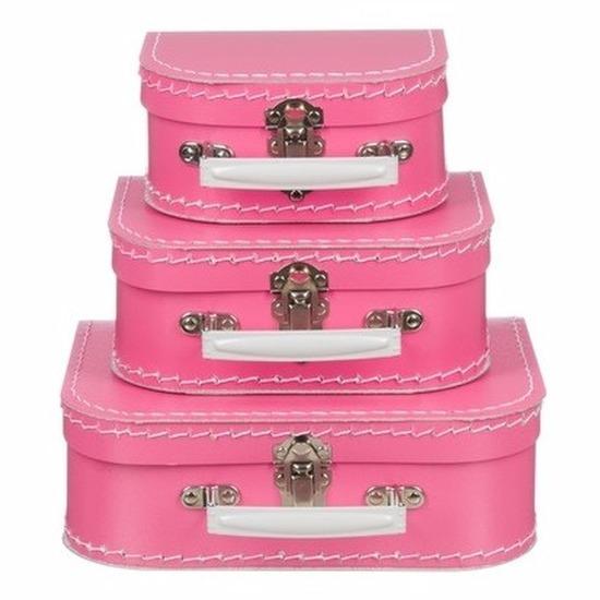 Babykamer koffertje roze el 16 cm