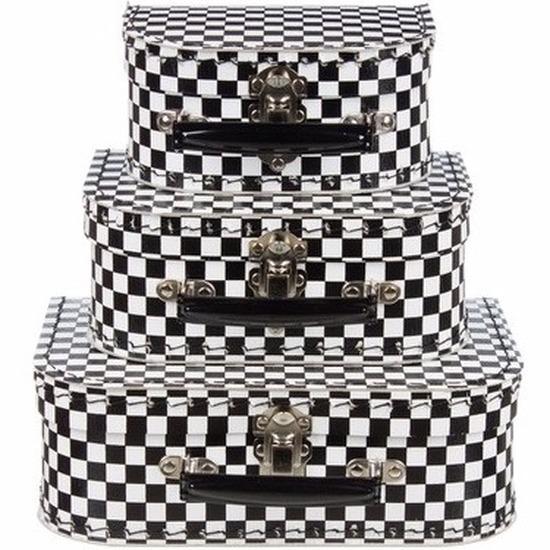 Babykamer koffertje zwart-wit geblokt 16 cm