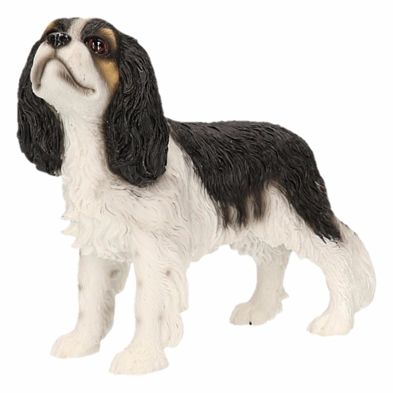 Beeldje Cavalier King Charles zwart wit 14 cm