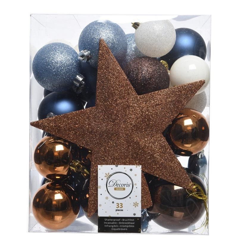 Blauw-bruin-wit kerstballen pakket met piek 33 stuks