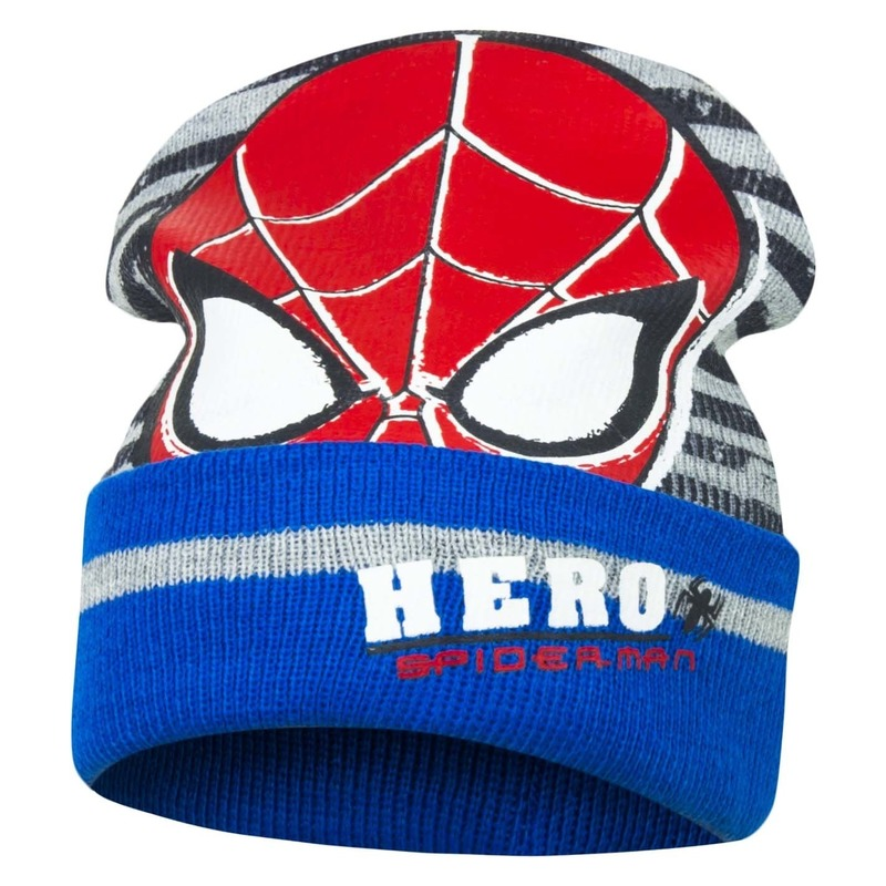 Blauw-grijze Spiderman muts voor jongens