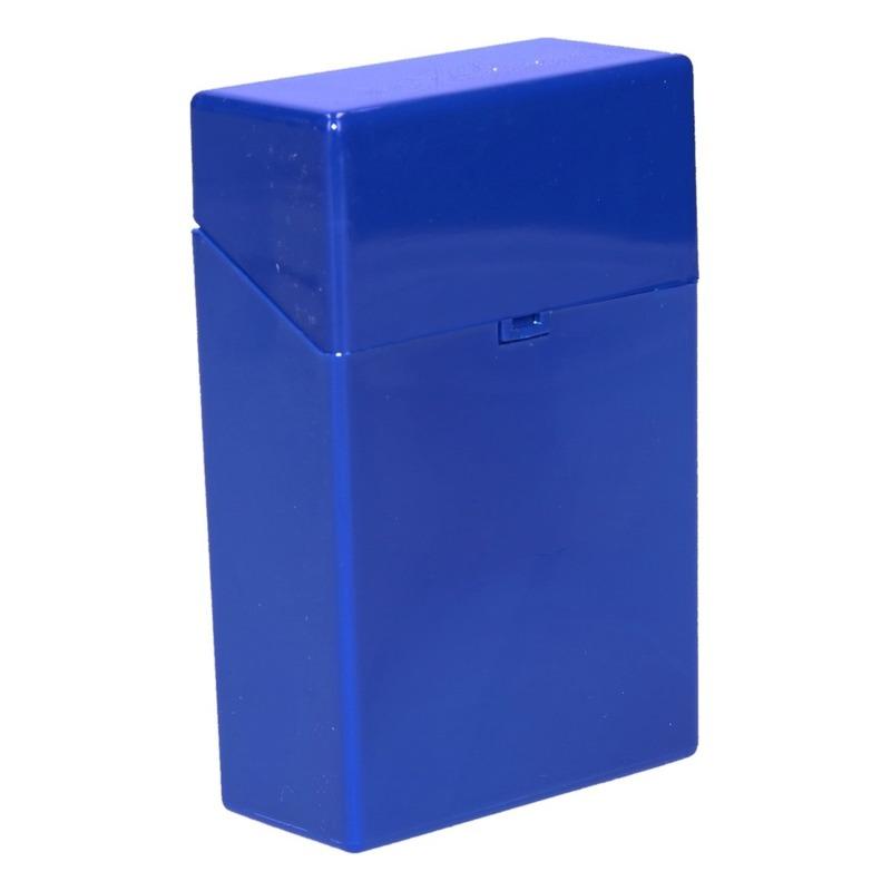 Blauw sigarettendoosje kunststof