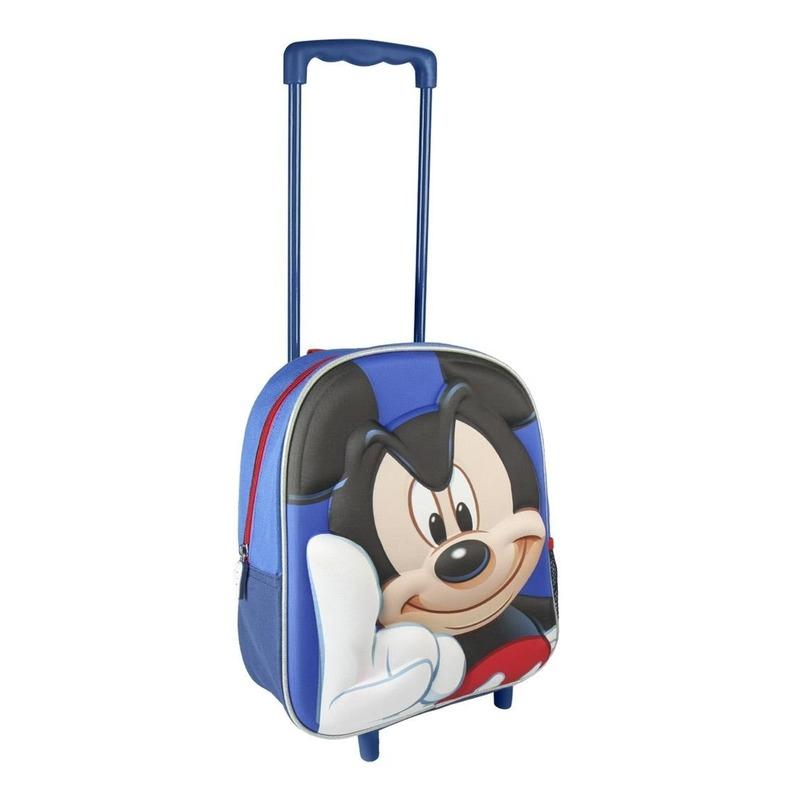 Blauwe 3D Mickey Mouse weekendtas-trolley voor jongens 31 cm