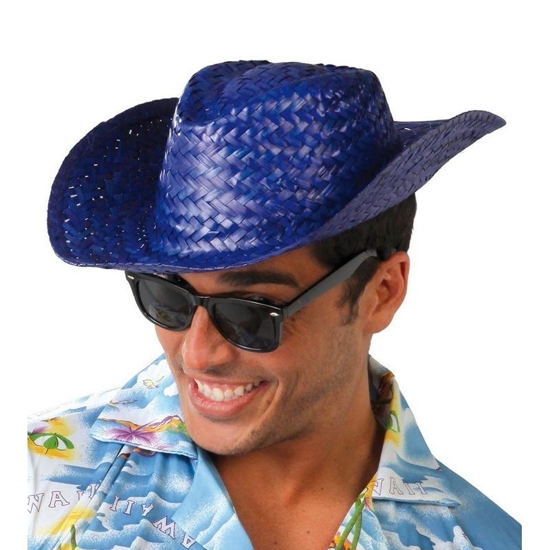 Blauwe cowboy-strohoed voor volwassenen