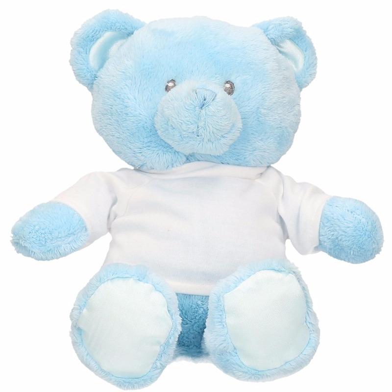 Blauwe geboorte knuffelbeer 28 cm met shirt