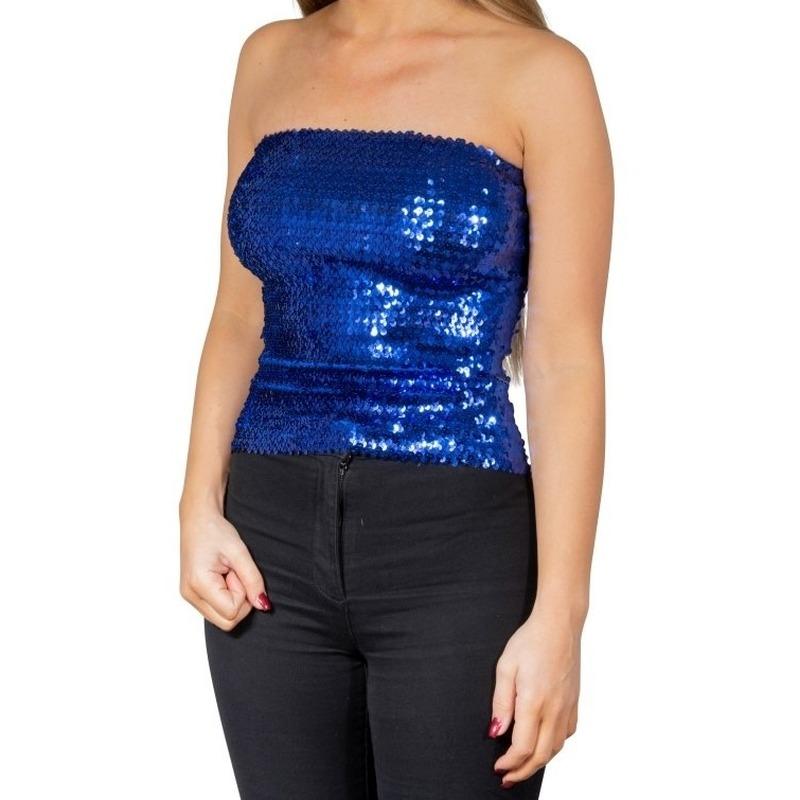 Blauwe glitter pailletten disco strapless topje- shirt dames
