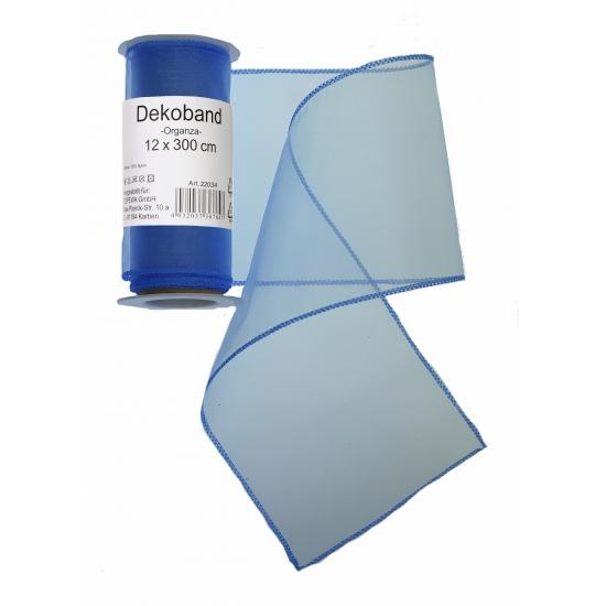 Blauwe organza tule decoratie stof 12 x 300 cm