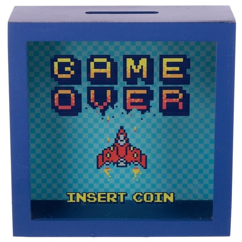 Blauwe raam spaarpot Game Over 18 cm