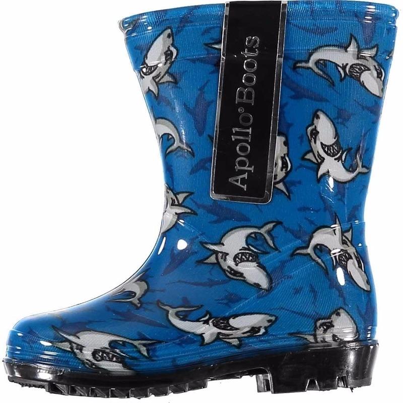 Blauwe rubber laarzen met haaien voor kids