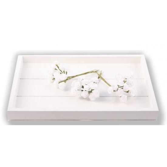Bosje witte decoratie rozen 12 cm