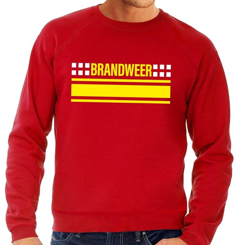 Brandweer logo sweater rood voor heren