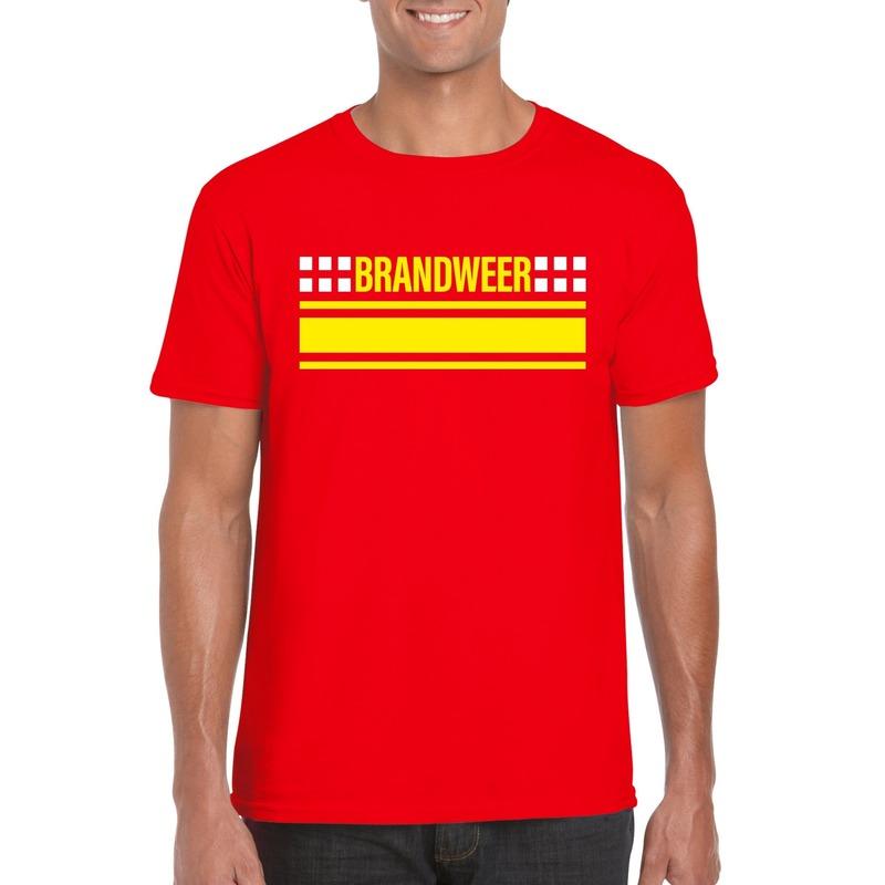 Brandweer logo t-shirt rood voor heren