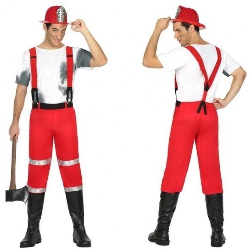 Brandweerman Joe kostuum met bretels voor heren