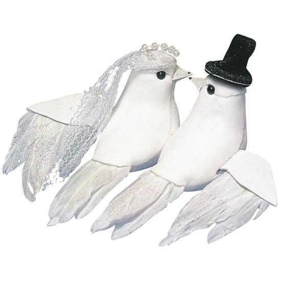 Bruiloft decoratie witte duiven bruid en bruidegom