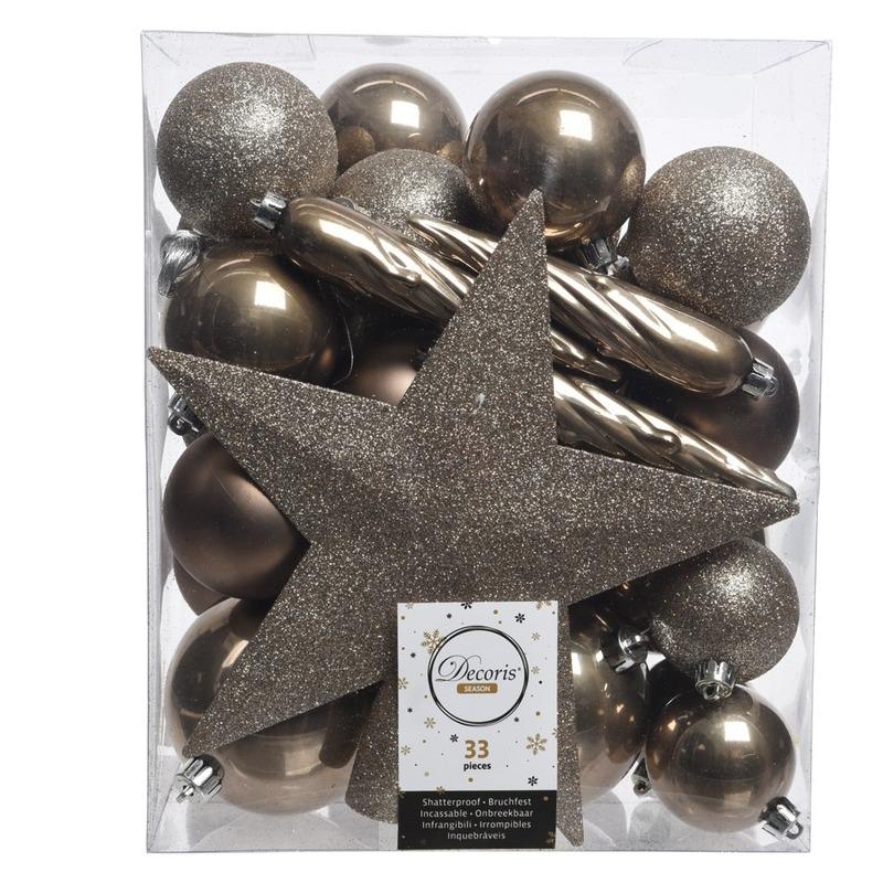 Bruin kerstballen pakket met piek 33 stuks