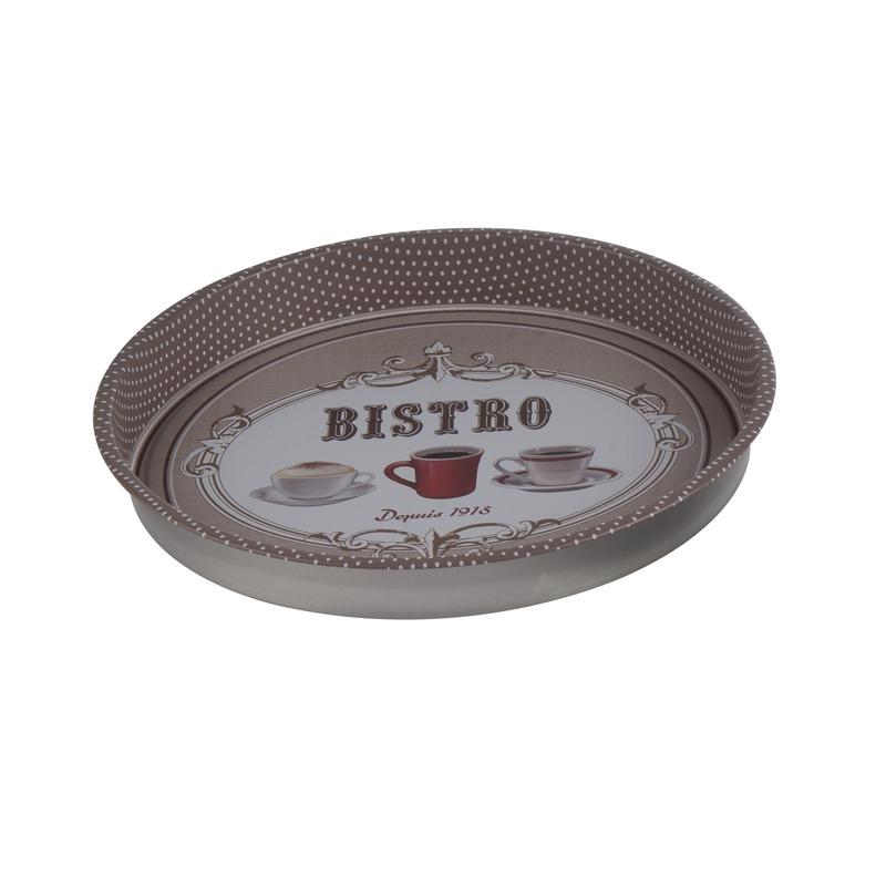 Bruin rond dienblad van metaal Bistro rood kopje 33 cm