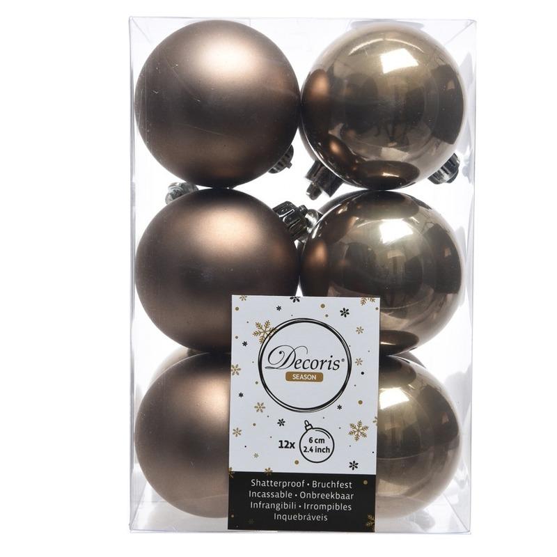 Bruine kerstversiering kerstballen kunststof 6 cm