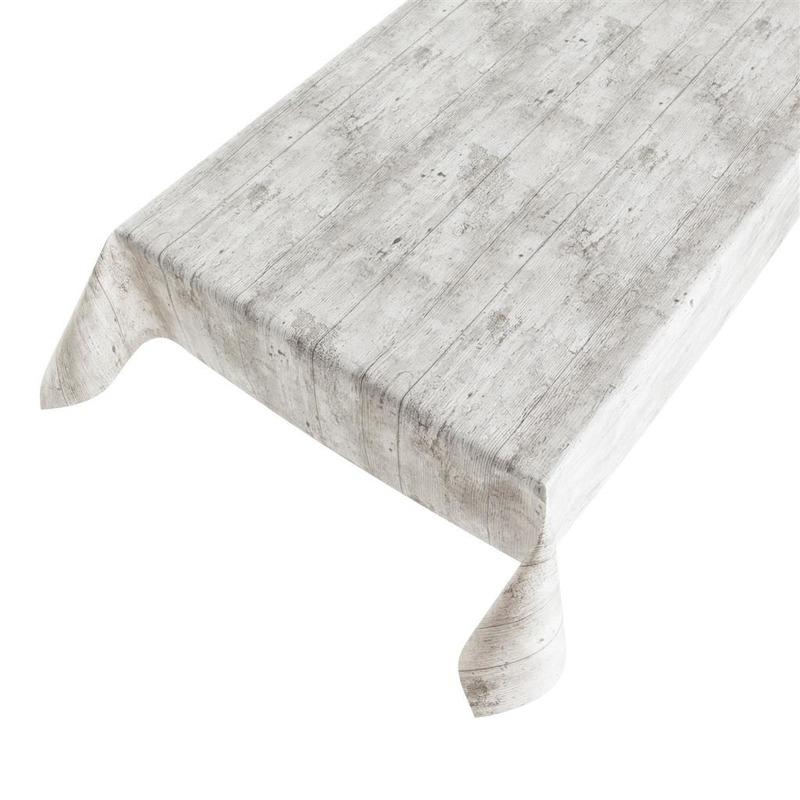 Buiten tafelkleed-tafelzeil grijs steigerhout 140 x 245 cm