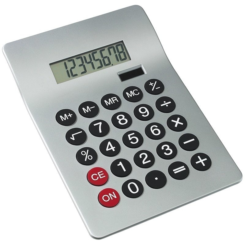 Bureau rekenmachine zilver 20 cm