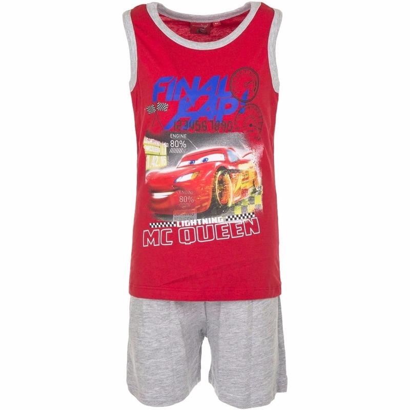 Cars korte pyjama rood met grijs