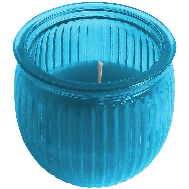 Citronella kaars 7,5 cm blauw