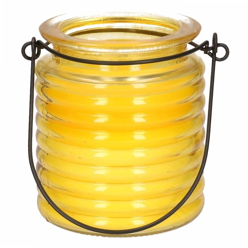 Citronellakaars in geel geribbeld glas 7,5 cm Geen goedkoop online kopen