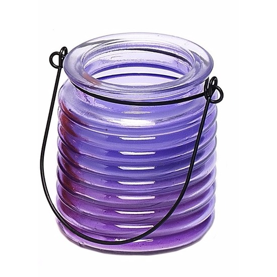 Tuin artikelen Geen Citronellakaars in paars geribbeld glas 7,5 cm
