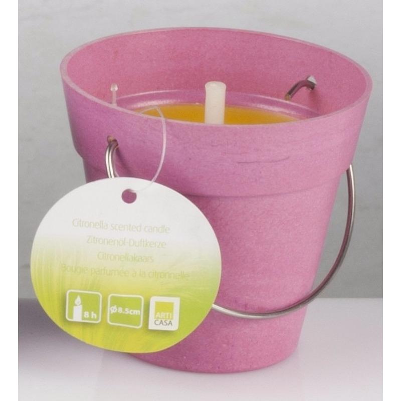 Tuin artikelen Geen Citronellakaars in roze emmertje 8 cm