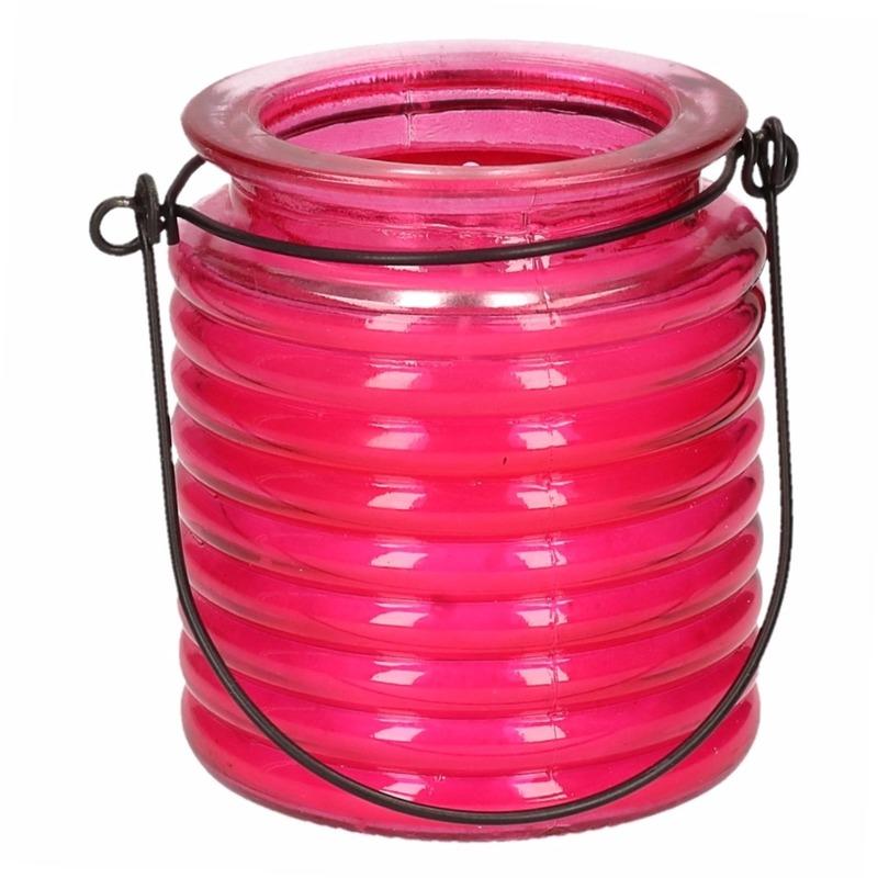 Tuin artikelen Citronellakaars in roze geribbeld glas 7,5 cm