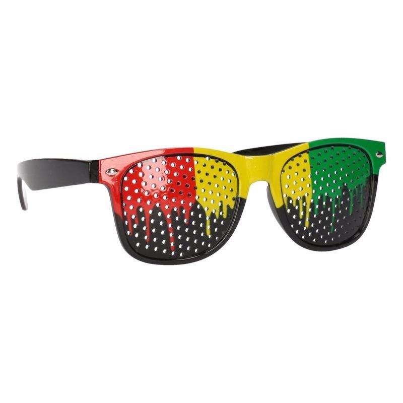 fc879d72ca167b Clubmaster zonnebril in Jamaica kleuren in Fun   Feest brillen winkel