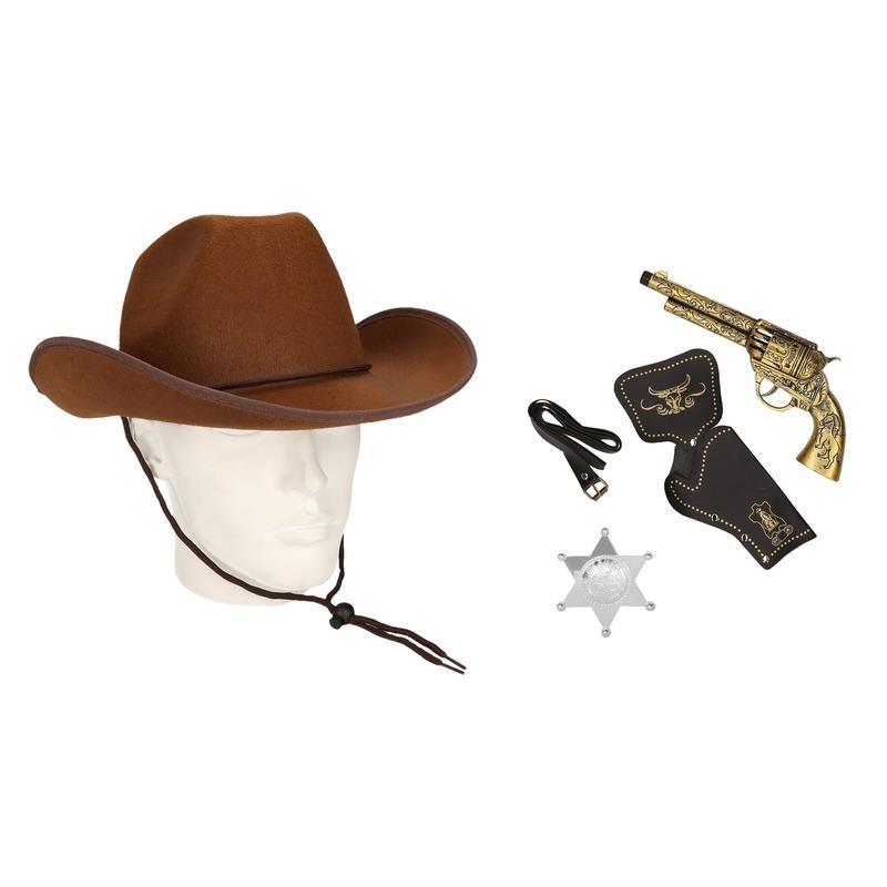 Cowboy accessoire set bruin voor volwassenen