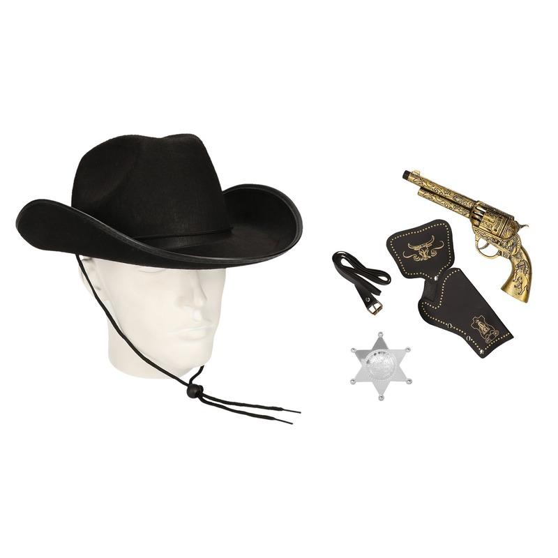 Cowboy accessoire set zwart voor volwassenen