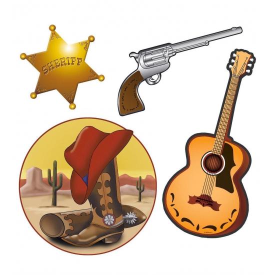 Cowboy decoratie 4-delig