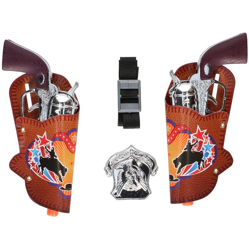 Cowboy pistoolset met holsters 18 cm