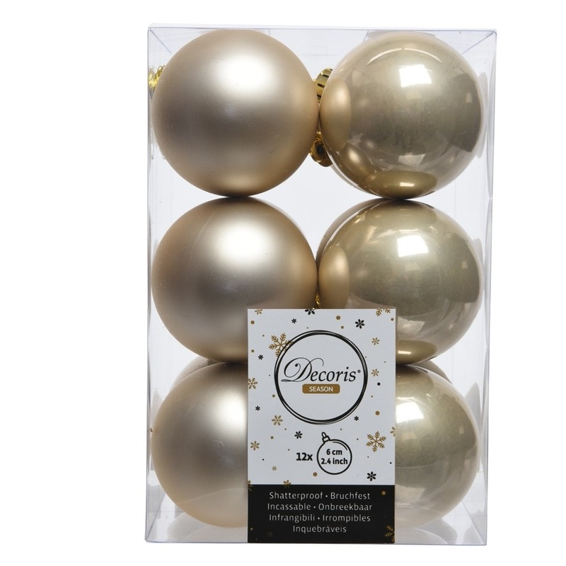 Creme kerstversiering kerstballen 24x kunststof 6 cm