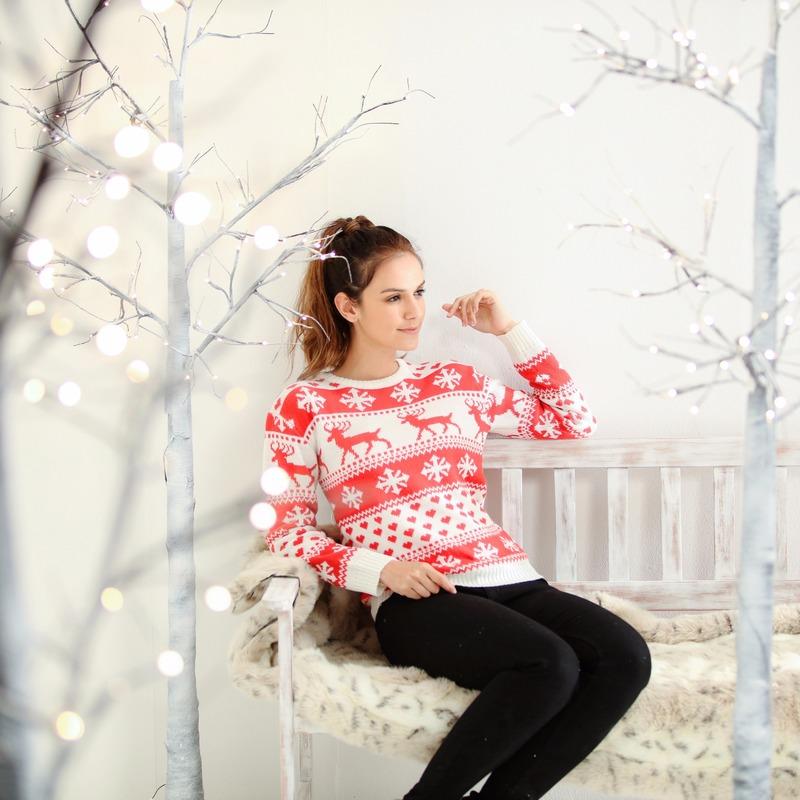 Dames kersttrui met nordic patroon rood-wit