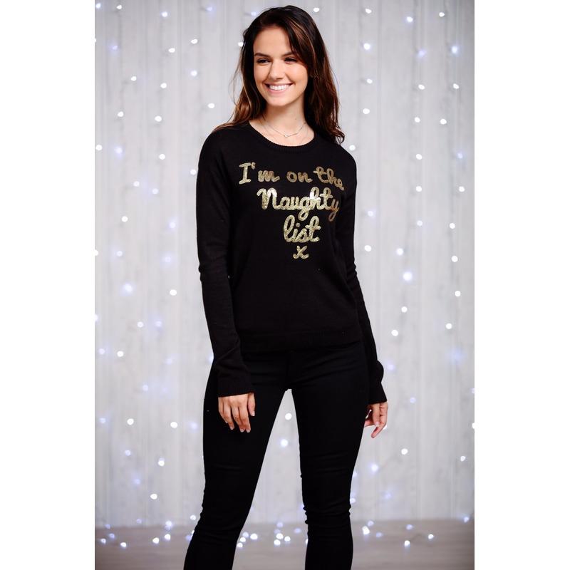 Dames kersttrui zwart met gouden pailletten