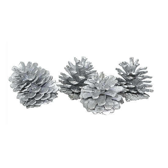 Decoratie dennenappels zilver 20 stuks