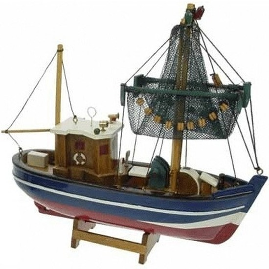 Decoratie vissersboot 24 cm