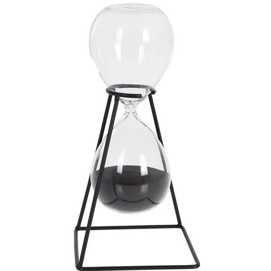 Decoratie zandloper zwart met metalen standaard 25 cm