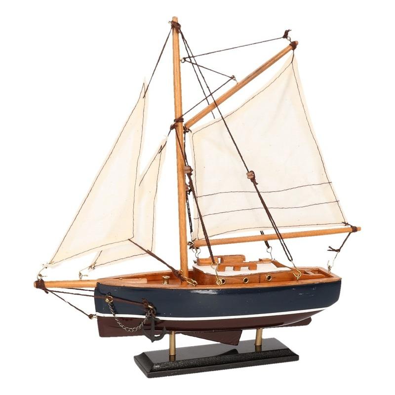 Decoratie zeilboot model jacht donkerblauw 23 cm