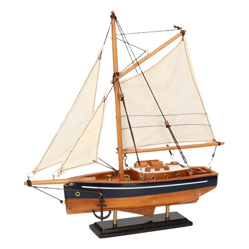 Decoratie zeilboot model jacht naturel-blauw 23 cm