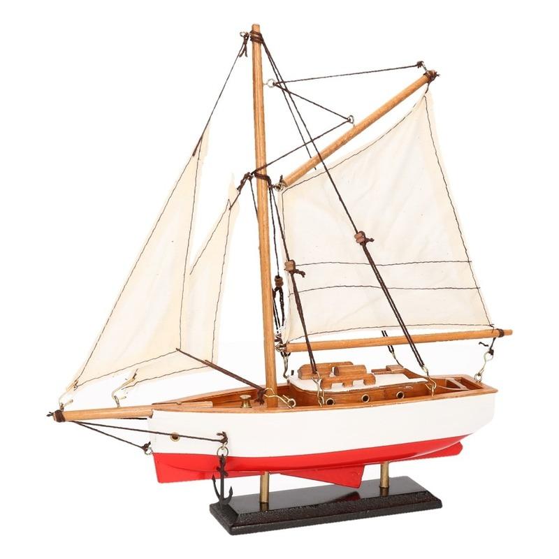 Decoratie zeilboot model jacht rood-wit 23 cm