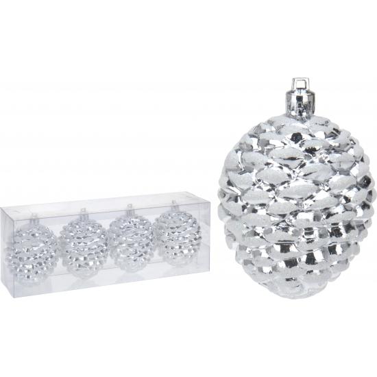Dennenappel kerstbal zilver 4 stuks
