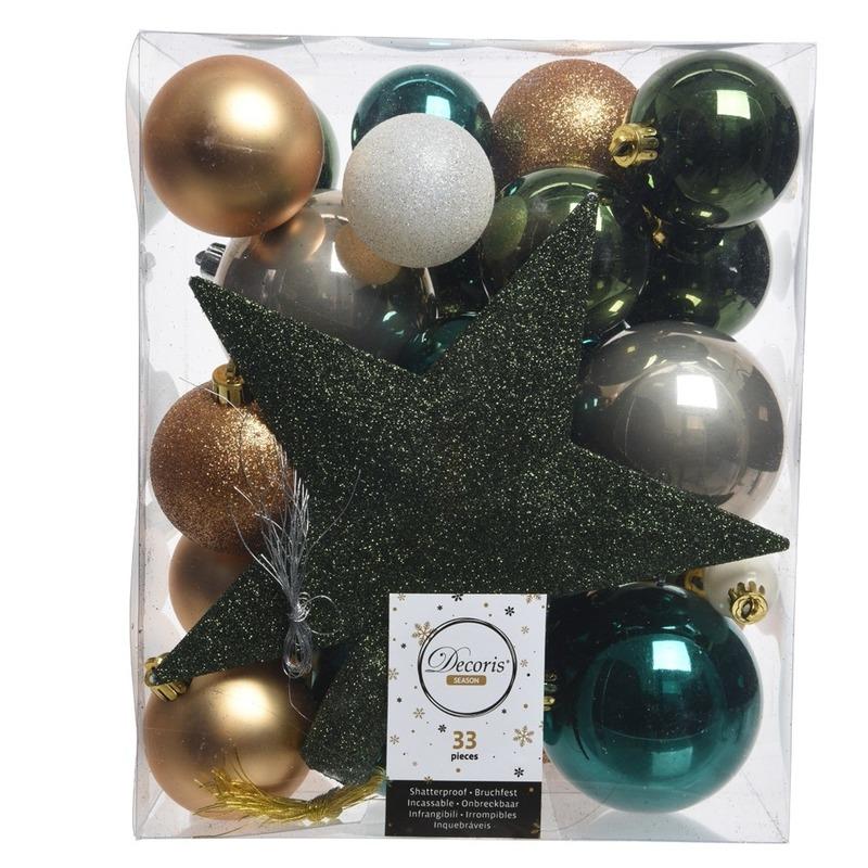 Dennengroen-goud-wit kerstballen pakket met piek 33 stuks