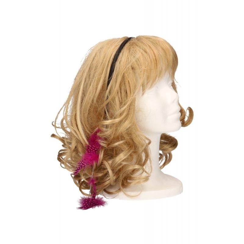 Diadeem met veren ketting roze. roze haarband met een veren ketting. de veertjes vallen in het haar. deze ...