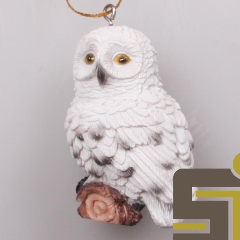 Dieren beeldje sneeuwuil hangversiering polystone 6 cm