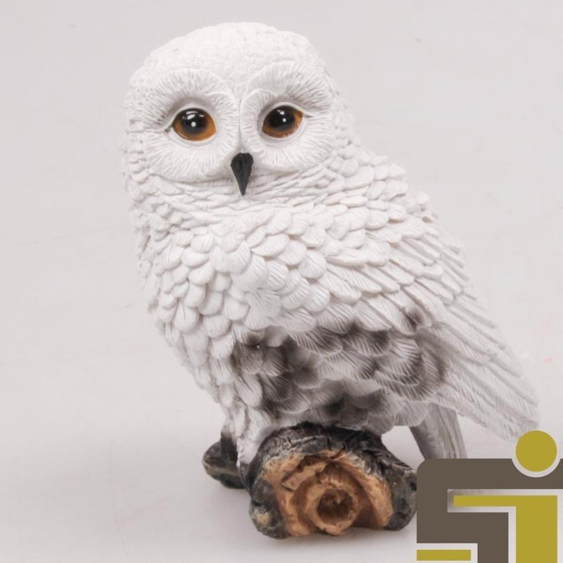 Dieren beeldje sneeuwuil polystone 10 cm