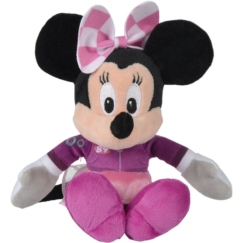 Disney pluche Minnie Mouse auto race knuffel 21 cm