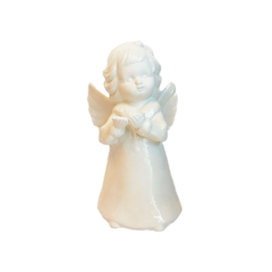 Engel beeldje porselein wit 18 cm